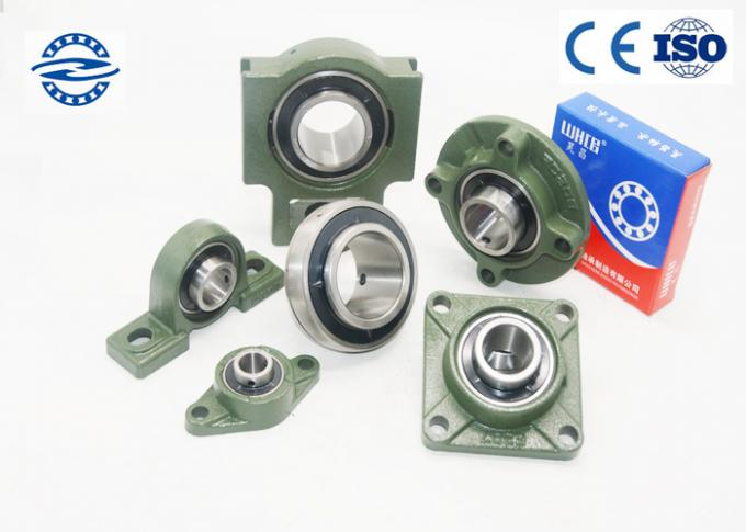 Green Pillow Ball Bearing UC203 With Flange Mount Stainless Steel For Long Life